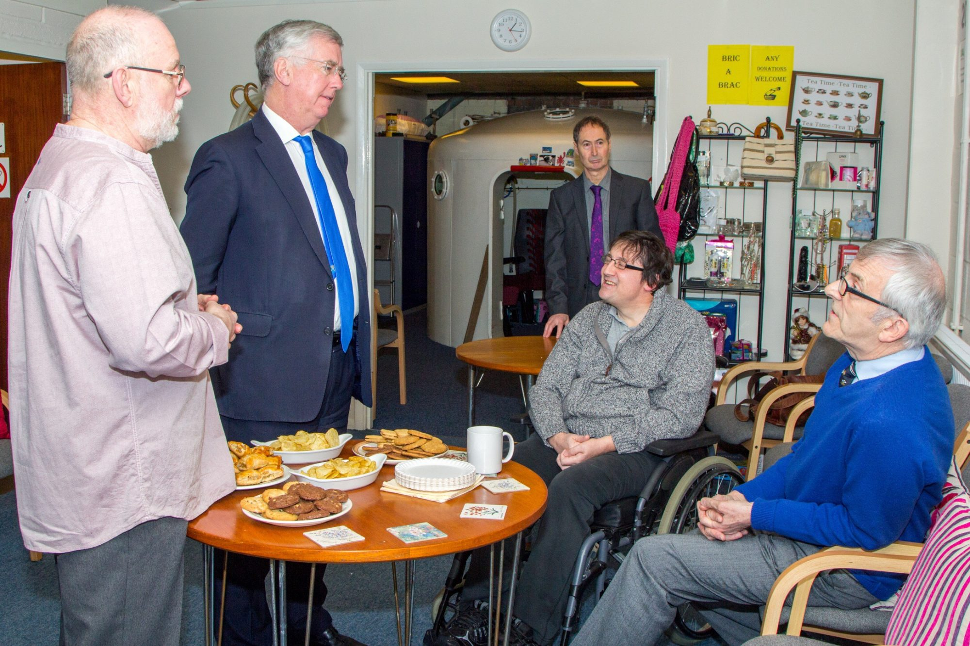 Mr Fallon chats with members of Swanley Therapy Centre