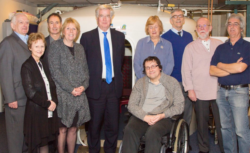 Michael Fallon with members of Swanley Therapy Centre