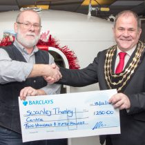 Swanley Mayor presenting a cheque to Swanley Therapy Centre