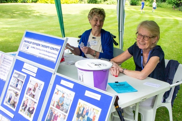 Committee Members Eileen and Sue on the information stand